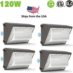 4PACK 120W LED Wall Pack Light Dusk to Dawn Commercial Outdoor Security 5000K