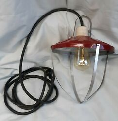 Rustic Vintage Hanging Barn Lamp Painted Galvanized Steel Cage Light $49.00