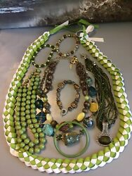 BOHO ECLECTIC HIPPIE GYPSY HANDMADE SHADES OF GREEN VINTAGE NOW JEWELRY LOT WOW $32.79