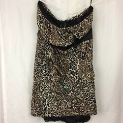 Torrid Dress Leopard Print Mesh Strapless Ruched Cocktail Plus Size 24 $32.49