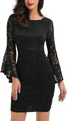 Noctflos Long Sleeve Lace Cocktail Dresses for Women Party Wedding $68.91