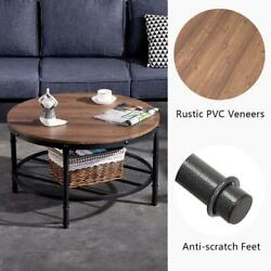 NEW Coffee Table Round Solid Wood Home Living Room Furniture w Storage Shelf $99.98