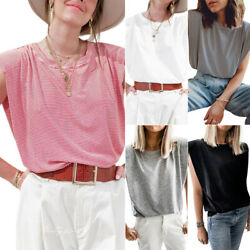 Womens Summer Sleeveless T Shirt Blouse Basic Tee With Shoulder Pads Causal Tops $12.99