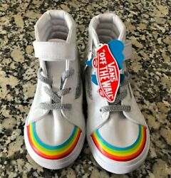 NEW VANS Off the Wall Girls Shoes Rainbow amp; Natural White Canvas Size 9 Toddler $29.99