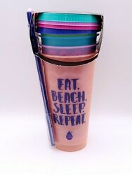 Tal Color Changing REUSABLE Tumblers amp; Straws Set 4 Pack Cold Cups amp; Lids 24oz $11.98