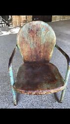 vintage metal bounce back patio lawn chair chippy $95.00