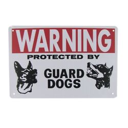 Metal Warning Protected Guard Dog Wall Sign Beware Plaque Security Caution Decor $11.98