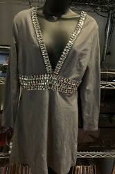 Venus Cocktail Women's Gray Dress With Silver Rhinestones V Neck Size 8 $20.00