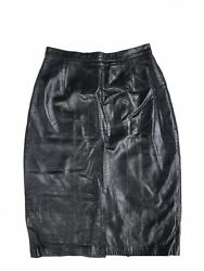 Black North Beach Leather Pencil Skirt Size 7 Small $75.00