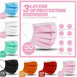 50 PC 3 PLY Layer Disposable Face Mask Dust Filter Safety Pink White Blue Black $16.99