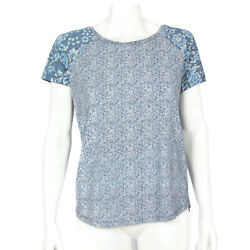 Lucky Brand Whimsical Blue Floral High-low Short Sleeve Top Shirt sz Small 1866 $14.99