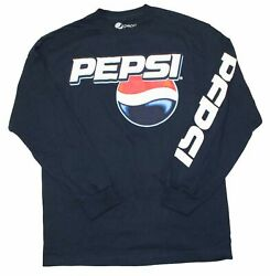 New Mens Pepsi Cola Vintage Classic T Shirt Logo Tee Navy Blue Long Sleeve New $14.99