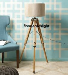 Nautical Classical Floor Shade Lamp Brown Natural Wooden Tripod Stand Chrome $80.00