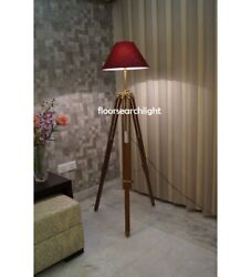 Vintage Classical Floor Shade Lamp Brown Wooden Tripod Stand Nautical Antique $95.50