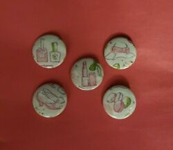 5 *Get Fancy for Tea Time* Pins Buttons $5.00