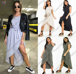Womens Wrap Over Tie Up Summer Midi Ladies Cap Sleeve Casual Maxi Bodycon Dress $17.50