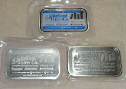 Set Of 3 DT Mint Maitland Tire Co Commercial Silver Art Bars Enamaled Proof $299.95