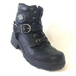 Harley Davidson Womens Tegan Black Leather Motorcycle Biker Boots Low Buckle 6.5 $55.95