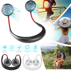 Portable USB Rechargeable Neckband Sport Fan Lazy Neck Hanging Dual Cooling Fan $13.98