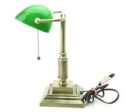 Vintage Banker's Desk Lamp Traditional Style wGreen Glass Shade Antique Bronze $40.00