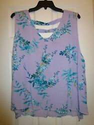 Plus 5X Sleeveless V Neck Open Back Rayon Washed Not Worn Lilac Floral $12.00