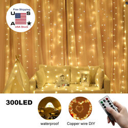 300 LED Curtain Fairy Hanging String Lights Remote Wedding Party Wall Decor Lamp $13.39