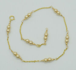 New Exquisite 14K Solid Gold 4mm Gold Beaded Anklet bracelet 9 10#x27;#x27; $97.89