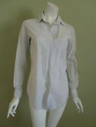 BARNEYS NEW YORK Made in Italy Striped Button Front Cotton Shirt Size 40 $17.50