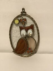 Vintage Glass Owl Stained Glass Wall Art Decor $34.77