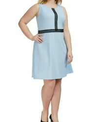 NY Collection Sleeveless Knit Lace Trim Blue Fit And Flare Dress SIze 5XL $9.85