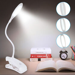 Flexible Reading Light USB Rechargeable Clip On Dimmable LED Touch Desk Bed Lamp $12.99
