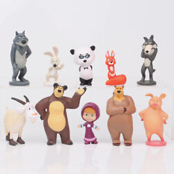 10 PCS Masha and The Bear Action Figures Set Party Toys Dolls Gift Cake Toppers $12.88