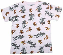 Mens Tom and Jerry All Over Throwback 80s 90s Cartoon Pink T-Shirt Tee New $14.99