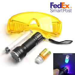 Air Conditioning Leak Detector Kit AC Test UV Lamp Safety Goggle Detection Oil $20.80