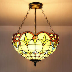 Tiffany Inverted Ceiling Pendant Lighting Victorian Stained Glass Chandelier $89.99