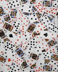 Playing Cards Print Quilting Cotton Fabric Sold By The Quarter Yard Masks $5.25