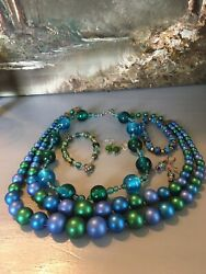 BOHO ECLECTIC GYPSY HANDMADE SHADES OF BLUE amp; GREEN VINTAGE NOW JEWELRY LOT WOW $29.39