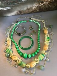 BOHO ECLECTIC GYPSY HANDMADE SHADES OF YELLOW amp; GREEN VINTAGE NOW JEWELRY LOTS $29.39