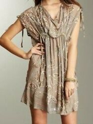 STUNNING ALL SAINTS THETIS LIGHT 100% SILK TAUPE EMBELLISHED QUIRKY DRESS. UK 12 $31.26