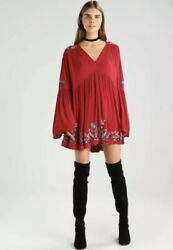 FREE PEOPLE RED TE AMO EMBROIDERED BOHO BELL SLEEVE TUNIC MINI DRESS SMALL $39.99