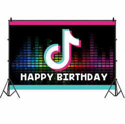 Tik Tok Photography Backdrop Music Happy Birthday Photo Background Banner Prop $4.99