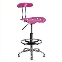 Molded Seat Drafting Stool Stable Floor Plastic Protector Adjustable Height Pink $110.52
