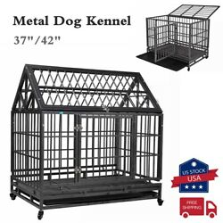 37quot; 42quot; Dog Crate Large Kennel Cage Heavy Duty Metal Playpen w Trayamp;Wheels $158.99