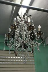 Lovely Antique Chandelier With Crystals Hanging 6 Lights Period Beginning 900 $926.32