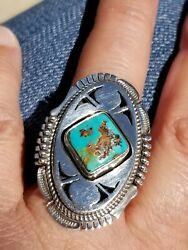Vintage Bennie Ration Native American Navajo Sterling Silver Turquoise Ring