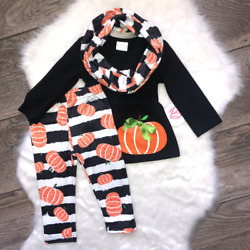 Girl Boutique Pumpkin Striped Black White Outfit Children's Clothing $15.99