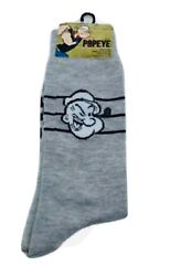 New POPEYE THE SAILOR Mens Novelty Crew Socks GRAY With POPEYE amp; HIS PIPE $5.99