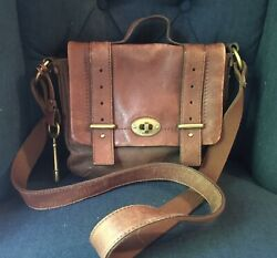 Fossil Mason Long Live Vintage 1954 Flap Brown Leather Purse $8.90
