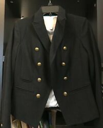 Banana Republic Military Wool Blend Blazer adjustable button lapel BNWT Size XS $45.00