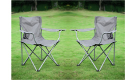 SET OF 2 QUAD FOLDING Camping Chair Steel Frames One Armrest Gray Outdoor Seat $32.95